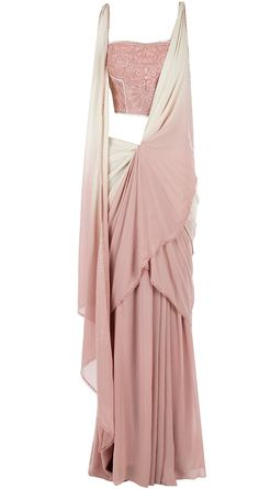 Pink beige draped sari with embroidered blouse available only at Pernia's Pop-Up Shop.