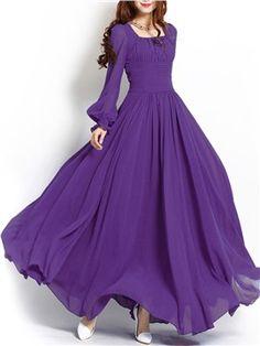 Ericdress Soild Color Sqaure Neck Lantern Sleeve Maxi Dress