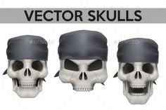 Set of Human Skulls with Bandanas (Vector EPS, CS, art, dark, dead, death, design, element, face, front, gothic, grunge, head, horror, human, icon, illustration, isolated, label, monster, mouth, object, poster, retro, skeleton, sketch, skull, smile, symbol, vector, vintage, white)