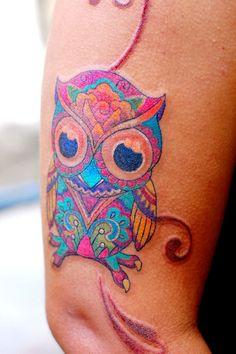 Owl Tattoo, colorful
