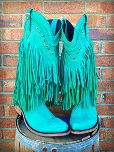 Fringe Stivali Ragazza Del Sud in Turquoise! $349.99 #southernfriedchics #shopsfc