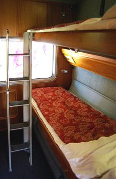 Gold Service on the Indian Pacific & The Ghan trains: Twinette sleeper in night mode