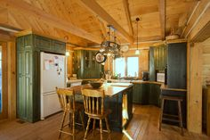 A spacious kitchen in a year-round EcoLog home