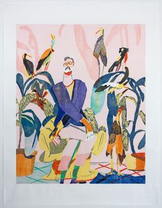 From Warren Editions, Michael Taylor, In good company Woodcut on Torinoko White 128 × 98 cm Art Pas Cher, Art Haus, African Artwork, South African Art, Character And Setting, Art En Ligne, Photo D Art, Contemporary Artwork, Good Company