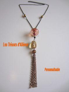 4d629df0166b Collier § Sautoir Noir et orangé, long pendentif ORIGINAL Sautoir Pompon,  Sautoirs, Créations