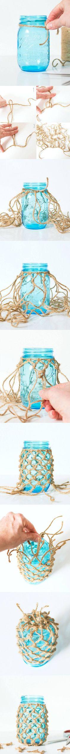 Ingeniosa decoración con cuerda para tus tarros - DIY Rope Mason Jar