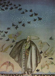 A Large Flock of Birds The Three Princesses in the Blue Mountains Kay Nielsen illustration Kay Nielsen, Art And Illustration, Book Illustrations, East Of The Sun, Flock Of Birds, Fairytale Art, Klimt, Fantasy Art, Fairy Tales