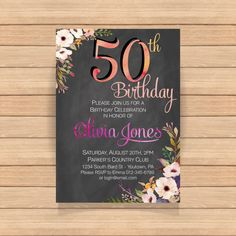 Fifty birthday party Watercolor Floral Chalkboard by CoolStudio