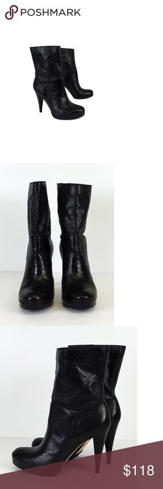 """Cole Haan- Black Leather Snakeskin Embossed Boots Sz 9.5 These black boots are a staple in every wardrobe. Wear it with dresses or jeans. Embossed snakeskin print adds texture to your outfit. Size 9.5 B Leather & rubber soles Light wear on outsoles Leather upper Some scratches on wood heels Heel Height 4.25"""" Shaft Circumference 12"""" Total Length 11.75"""" Cole Haan is a long-time American fashion label first known for men's wear. Today it offers many products, including men's and women's dress…"""