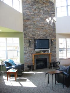 TV Over 2 Story Stone Fireplace With Windows/doors On Each Side. Part 98