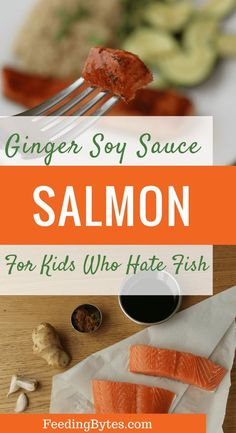Ginger soy sauce salmon recipe: An easy salmon recipe for kids who hate fish. Even your picky eater may like this! Healthy lunch or dinner idea suitable for the whole family. From Feeding Bytes. Oven Baked Salmon, Baked Salmon Recipes, Baked Fish, Toddler Meals, Kids Meals, Toddler Food, Easy Meals, Salmon Recipe For Kids, Fish Recipes For Kids