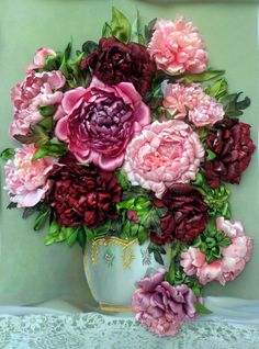 Embroidered picture Peonies Embroidery with silk, satin ribbons