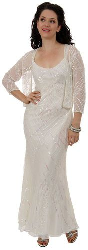 Silk Chiffon Beaded Two Piece Sequined Destination Wedding Dress with Jacket