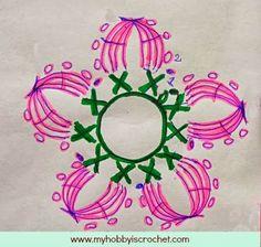 My Hobby Is Crochet: 5 Petals Cluster Flower- Free Pattern with Phototutorial and Chart Crochet Scarf Diagram, Irish Crochet Patterns, Crochet Motifs, Crochet Chart, Knitting Patterns Free, Free Pattern, Flower Motif, Flower Chart, Flower Petals