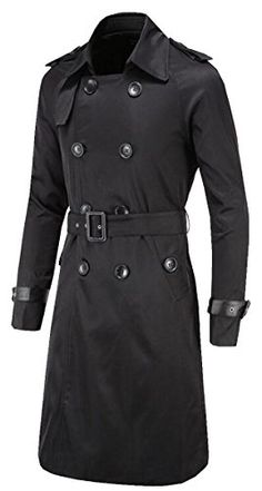 SALE PRICE $43.99 - UGET Men's Trench Coat Double Breasted Overcoat Jacket with Waist Belt