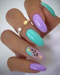 Silver Nails, Oval Nails, Purple Nails, Light Blue Nails, Pastel Nails, Black Nails, Glitter Nails, Almond Acrylic Nails, Summer Acrylic Nails