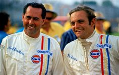 Jack Brabham and Peter Revson, teammates at Indianapolis in Brabham BT25 Repco's , 1969...