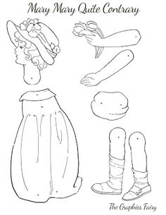 Vintage Printable Jointed Paper Doll - Mary Mary