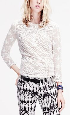 Isabel Marant for H&M White Top. I love the mixing of these patterns!