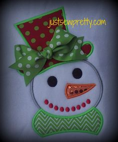 Snowman with Tophat Applique Design by justsewpretty on Etsy