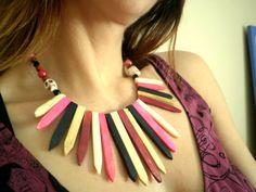 Tribal Necklace Choker Pink Black and White Bone by LuladarkJewels, $56.00