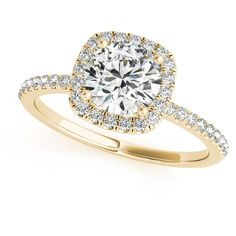 Allurez Square Halo Diamond Accented Engagement Ring in 14k Yellow... ($7,841) ❤ liked on Polyvore featuring jewelry, rings, accessories, anel, engagement rings, yellow gold, 14k gold jewelry, gold rings, 14 karat gold ring and square engagement rings