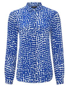 Polka Dot Fashion for Mums Silk Abstract Spot Blouse Jaeger Blue Abstract, Shirt Dress, Blouse, Long Sleeve Tops, Cool Style, Polka Dots, Silk, Clothes For Women, Mens Tops