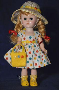 "Vintage 8"" Vogue Ginny Doll - in Tagged Dress Bent Knee Walker"