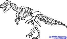 how to draw dinosaurs | how to draw a dinosaur skeleton, dinosaur skeleton step 9