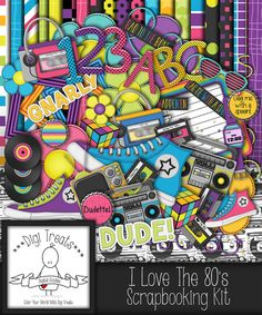 I Love The 80s Digital Scrapbook Kit.  1980s Themed by DigiTreats