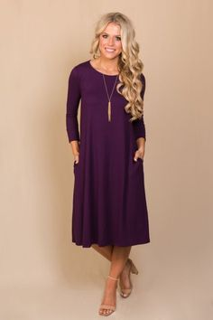 Here Without You Midi Dress - Plum