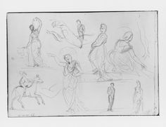John Singer Sargent - Man on Horseback, Woman Carrying a Jug, Figure with Halo, and other Figure Studies (from Switzerland 1870 Sketchbook)