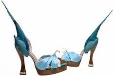 Shoes:Pleasure and Pain V & A till Jan 2016 Parakeet' Shoes Caroline Groves Photo: Dan Lowe Crazy Shoes, On Shoes, Shoe Boots, The V&a, World Photo, Period Costumes, Museum Exhibition, 2000s Fashion, Shoe Art