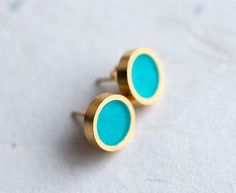 Big TEAL Stylish Gold plated earring studs with enamel  by pardes, $17.00