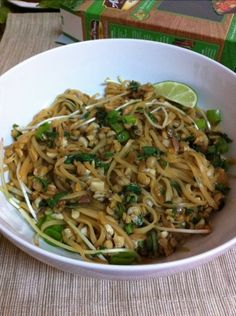 Gluten-Free Pad Thai | Almonds & Avocados -- use konjac noodles instead of rice noodles (no carbs/no cal/9 g fiber) to lean it out