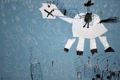 Svatý Martin na bílém koni. Práce předškoláků. #martin #svatý #zima #předškoláci #kresba #stmartin