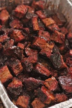 My BBQ brisket burnt ends recipe comes straight from the pit masters in Kansas City's biggest BBQ joints. Slow smoked brisket point is cubed and braised in a sweet and tangy BBQ sauce for the most tender, melt in your mouth bites of meat candy. Brisket Flat, Texas Brisket, Corned Beef Brisket, Smoked Brisket Recipes, Smoker Recipes, Slow Cooker Barbacoa, Slow Cooker Beef, Bbq Beef Tips Recipe, Brisket Burnt Ends