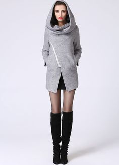 Asymmetrischer Mantel mit Kapuze Snood Damen blass von xiaolizi