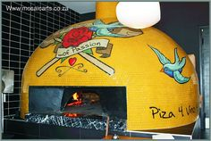 www.mosaicarts.co.za  Tattoo pizza oven! Love it! Portable Pizza Oven, Pizza Oven Outdoor, Outdoor Cooking, Outdoor Kitchens, Urban Kitchen, Kitchen Oven, Open Kitchen, Wood Fired Oven, Wood Fired Pizza