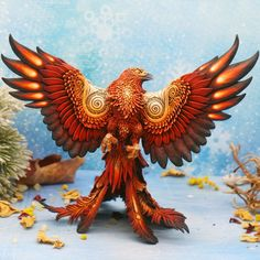 Phoenix Fantasy Eagle Bird Sculpture by Evgeny Hontor. Exclusive artwork! Art hand painting on polymer clay figurine. Animal Figurine Eagle Statue. FREE EXPRESS shipping. 7.5 inch in height, 7.5 inch wing span. It's casting resin figurine, painted acrylic by hand. I made a model from the material which I usually use, velvet clay