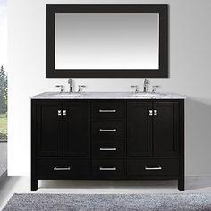 "Paris 60-Inch Espresso Double-Sink Bathroom Vanity With Mirrors terese 72"" double modern bathroom 2 side cabinets vanity set base"