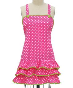 Pink Polka Dot Frill Apron by Kay Dee Designs