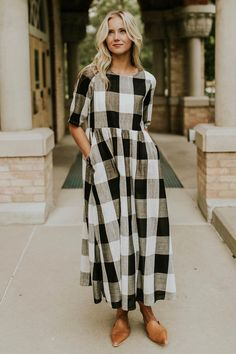 Dress my style Maddie Buffalo Plaid Dress in Taupe Church Dresses, Modest Dresses, Modest Outfits, Cute Dresses, Maxi Dresses, Modest Clothing, Women's Clothing, Preppy Outfits, Classy Outfits