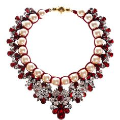 SHOUROUK Marisa Siam Necklace with SWAROVSKI ELEMENTS ($755) ❤ liked on Polyvore featuring jewelry, necklaces, accessories, colares, red pearl necklace, flower necklace, pearl flower necklace, beaded jewelry and pearl jewellery