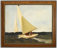 Copy of a seascape painting of a sail boat under full sail in ocean (© Troubetzk