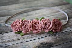 Vintage Pink Rose Garland Headband  - Newborn Baby to Adult - Wool Felt Flower Headband- Shabby Chic Wedding Flower Girl Headband