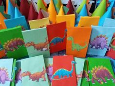 Mhaulikhiels creations party ideas Dinosaur party loot bags and hats