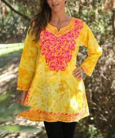 Another great find on #zulily! Yellow & Pink Floral Embroidered Notch Neck Tunic - Women #zulilyfinds