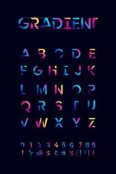 Conjunto de alfabeto gradiente colorido | Free Vector #Freepik #freevector #azul #tipografia #numero #alfabeto Creative Typography, Typography Letters, Typography Poster, Graphic Design Typography, Lettering Design, Japanese Typography, Calligraphy Letters, Fonte Alphabet, Alphabet Design