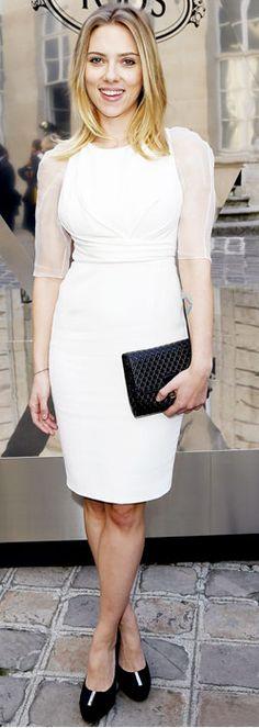 Scarlett Johansson: Dress - Christian Dior Purse - Tod's similar style bag by the same designer Signature Small Leather Shoulder Bag